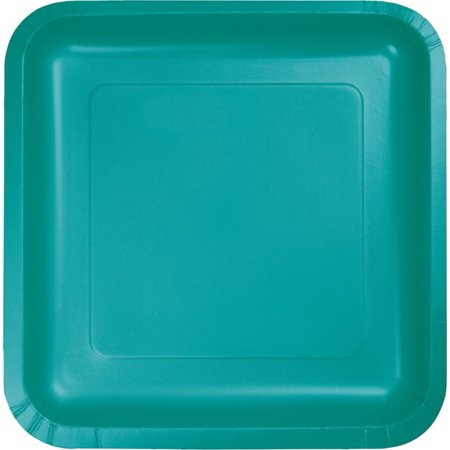 Tropical Teal 9 inch Square Lunch/Dinner Plates (18