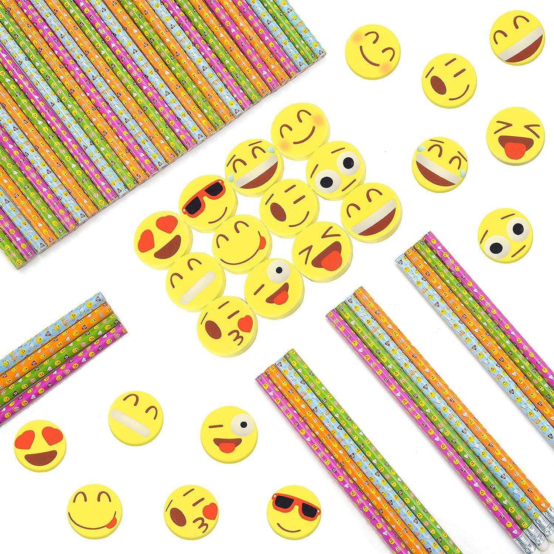 144 Novelty Cute Emoji Erasers Ideal for Homework Rewards and Kids Party Favors