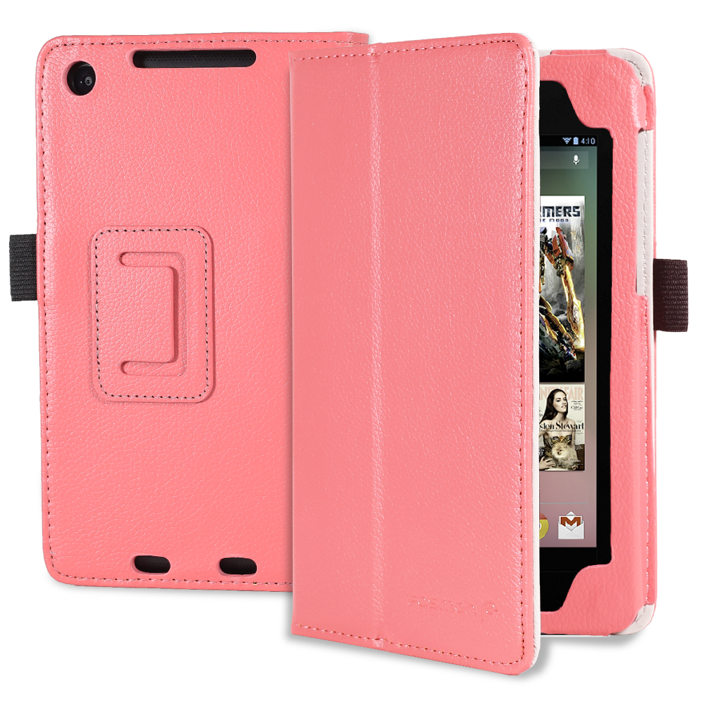 Fosmon OPUS Series Folding Leather Case with Stand, Hand Strap, Card Pockets and Stylus Slot for Google Nexus 7 FHD 2nd Generation 2013 Tablet (Coral)