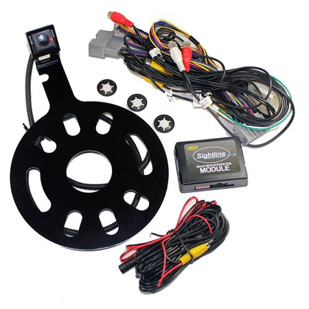 Crux Interfacing Solutions RVCCH75WM Crux Rear-view & Vim Integration With Spare Tire Mount Camera With Moving Lines For Jeep Wrangler