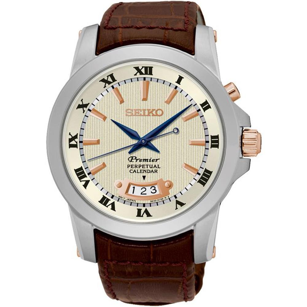 Seiko Men's Premier Perpetual 41.5mm Brown Leather Band S...