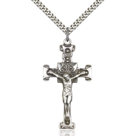 Sterling Silver Crucifix Pendant 1 3/4 x 7/8 inches with Heavy Curb Chain