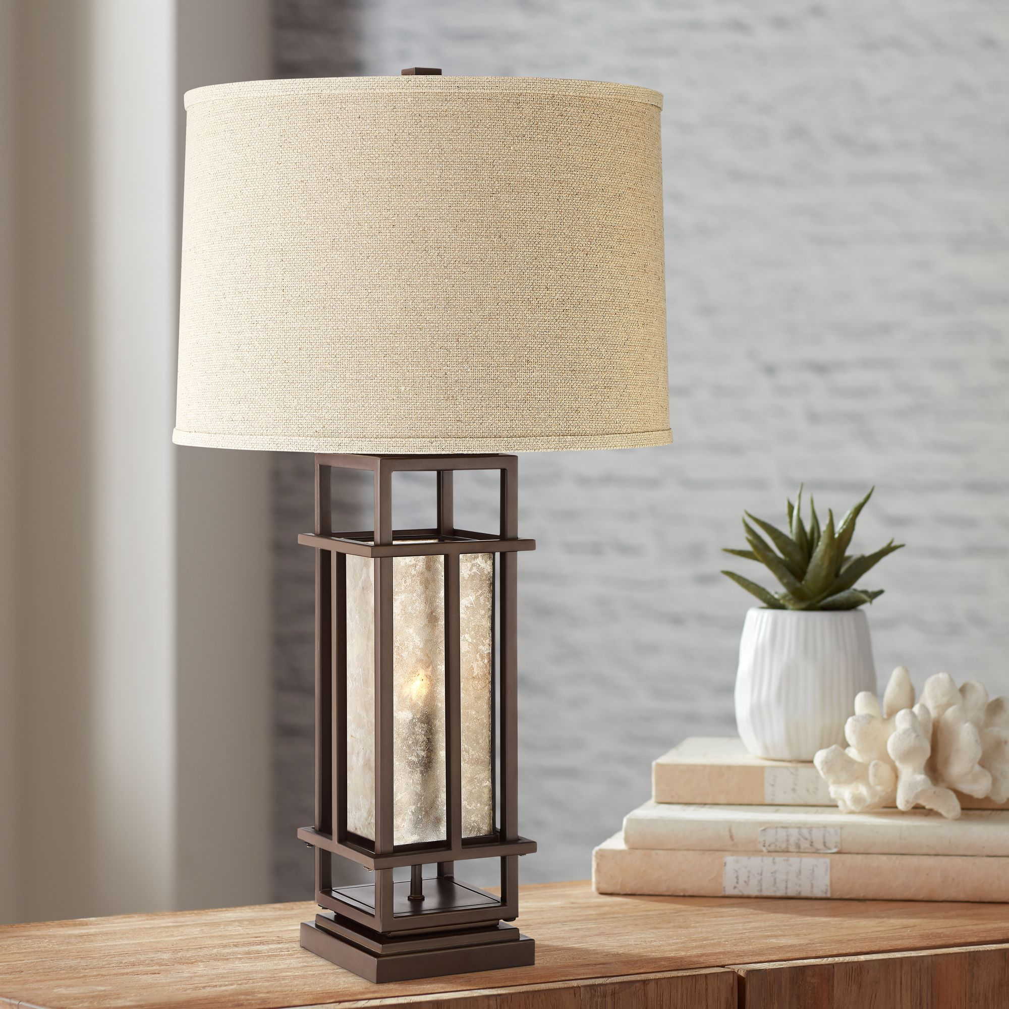 Picture of: Franklin Iron Works Rustic Farmhouse Table Lamp With Nightlight Led Caged Brown Oatmeal Fabric Drum Shade For Living Room Bedroom Walmart Com Walmart Com