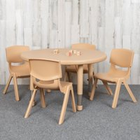 "Flash Furniture 33"" Round Natural Plastic Height Adjustable Activity Table Set with 4 Chairs"