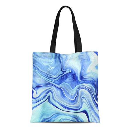 Canvas Indigo Tote (LADDKE Canvas Tote Bag Colorful Blue Neon Indigo Marbling Marble Painting New Technique Reusable Shoulder Grocery Shopping Bags Handbag)