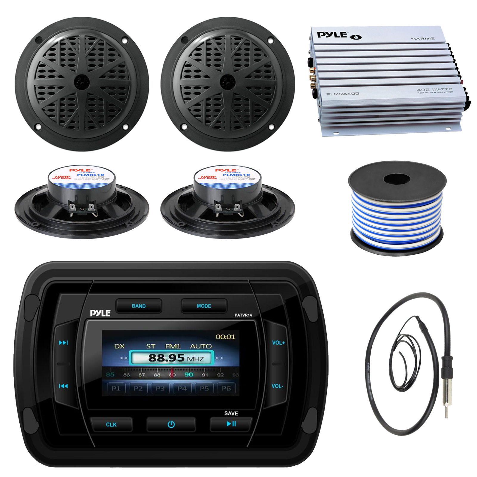 """Pyle PATVR14 MP3/MP5 Bluetooth Marine Boat Yacht Stereo Receiver Bundle Combo With 4x Black 5-1/4"""" Dual Cone Waterproof Stereo Speaker + Enrock Radio Antenna + 400 Watt Amplifier + 18G 50-FT Wire"""
