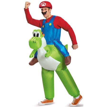 Super Mario Bros Inflatable Mario Riding Yoshi Men's Adult Halloween Costume, 1 - Super Mario Yoshi Halloween Costume