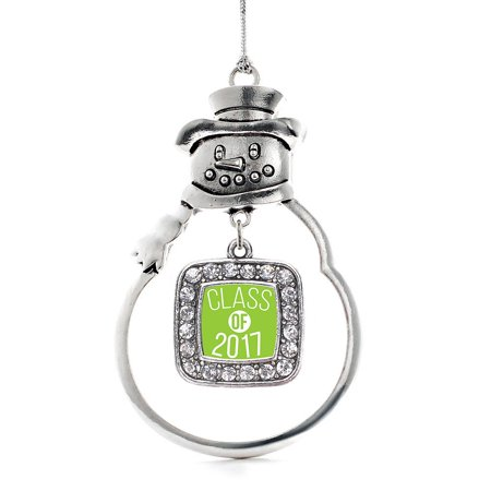 Lime Green Class Of 2017 Classic Snowman Holiday Ornament
