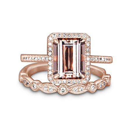 Perfect Halo Bridal Set on Sale 1.50 Carat Emerald Cut Morganite and Diamond Bridal Set in Rose Gold: Bestselling Design