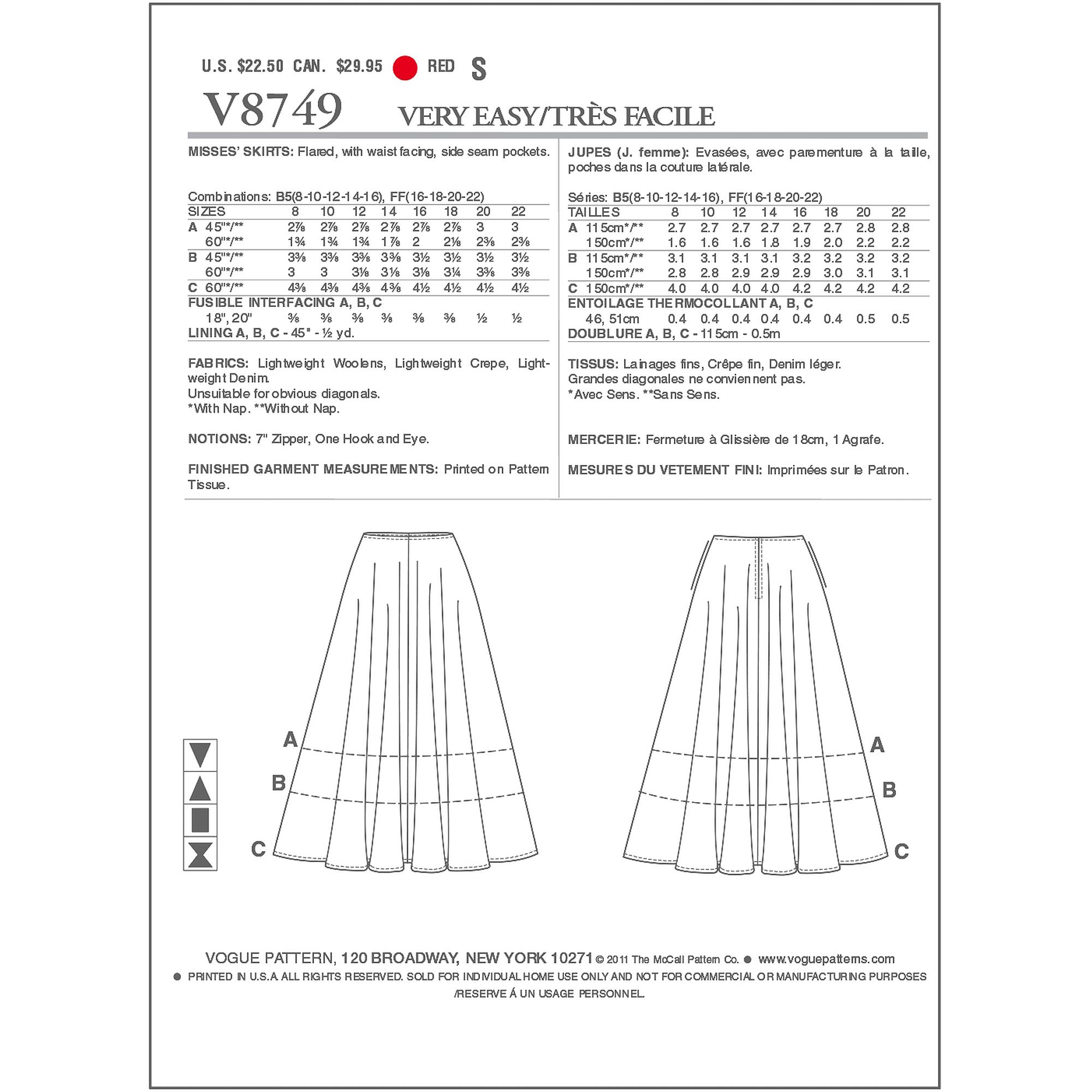 Vogue Pattern Misses' Skirt, FF (16, 18, 20, 22)