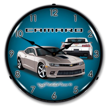 2014 Camaro SS Silver Ice LED Wall Clock, Retro/Vintage, Lighted, 14 inch - Led Ice