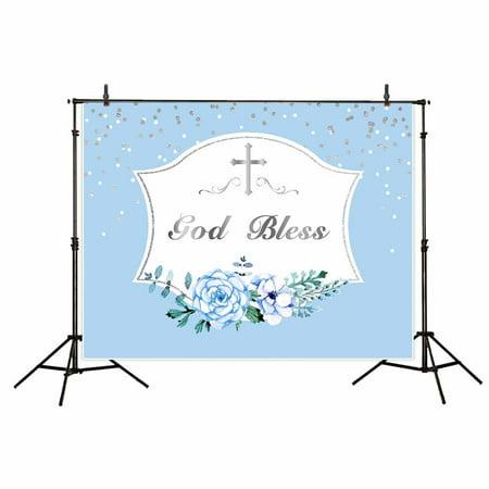GreenDecor Polyster 7x5ft first communion backdrop blue boys banner background god bless photobooth photo studio (Photoflex First Studio)