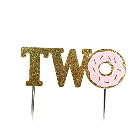 Handmade 2nd Second Donut Birthday Cake Topper Decoration - Two - Made in USA with Double Sided Gold Pink Glitter Stock - Birthday Donuts
