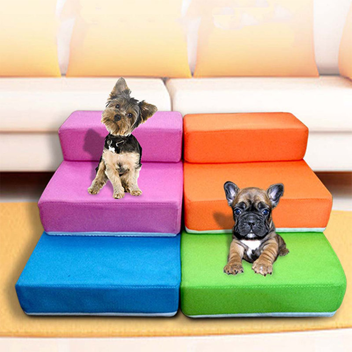 Moaere 3Tier Step Foldable Pet Stairs Cozy Dog Ladder Cat Ramp Removable Washable Carpet Treadfor Cats/Dogs Deal of the day