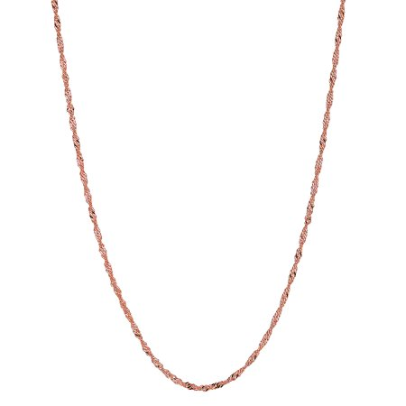 14k Solid Rose Pink Gold Singapore Chain Necklace 18 Inches