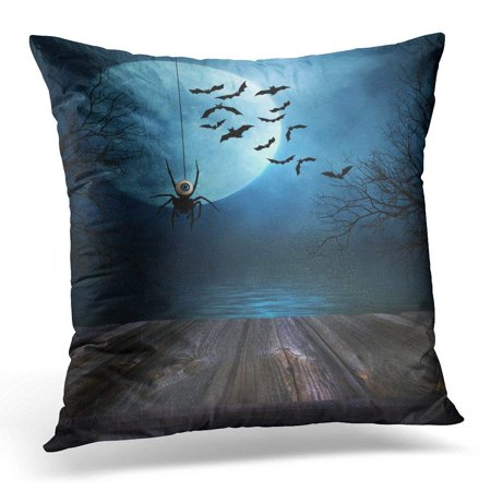 CMFUN Black Wood Wooden Floor with Spooky Halloween Blue Scary Pillow Case Pillow Cover 20x20 inch (100 Floors 15 Halloween)