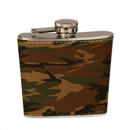Leather Round Flask - KuzmarK 6 oz. Leather Pocket Hip Liquor Flask - Camouflage
