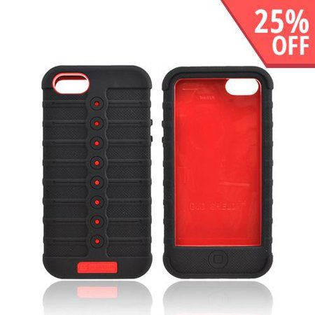 Made for Apple Iphone 5 [Red/ Black] Duo Shield Silicone Over Hard Plastic Snap On Shell Case Cover W/ Lcd Screen Protector by Redshield