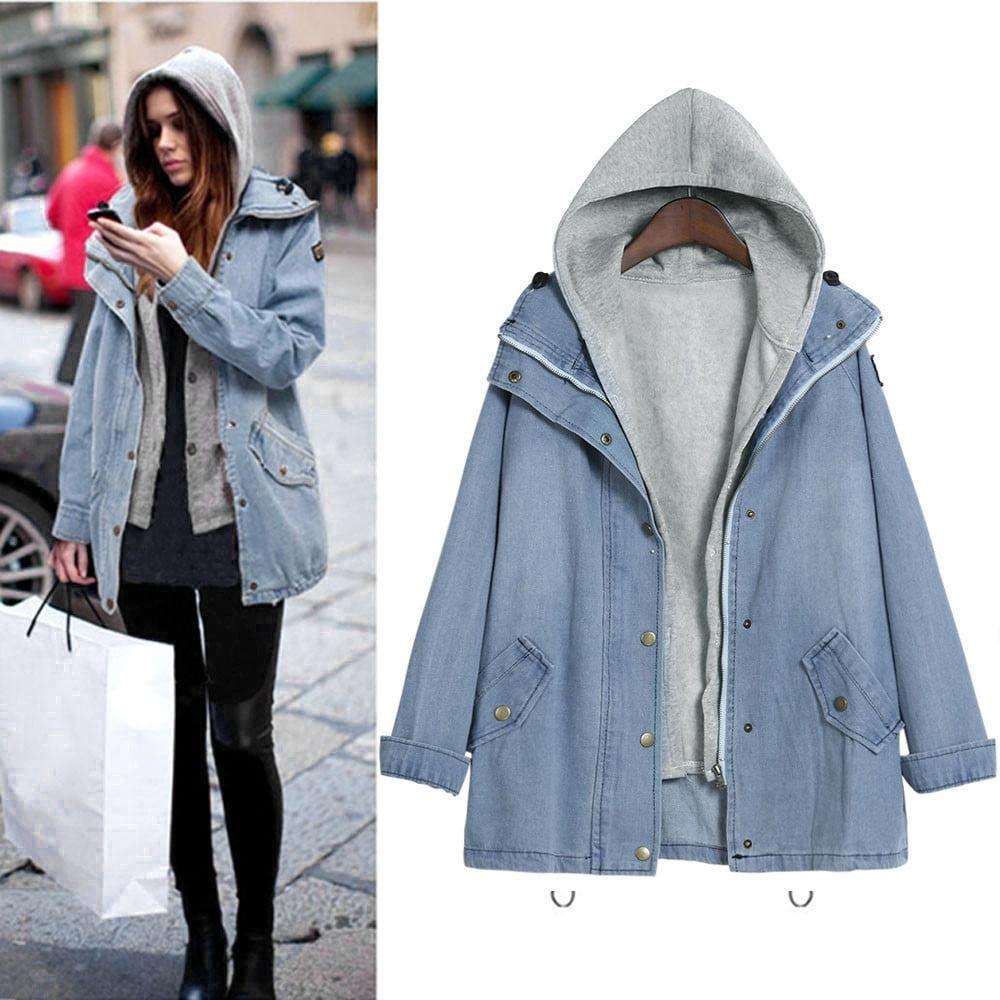 Winter Women Warm Collar Hooded Coat Jacket Denim Trench Parka Outwear L by