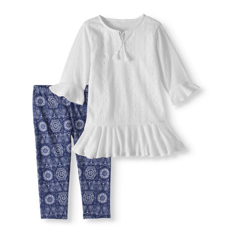 Crochet Trim Tunic and Capri Legging 2-Piece Set (Little Girls & Big Girls)