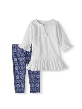 e48d15963 Product Image Crochet Trim Tunic and Capri Legging 2-Piece Set (Little  Girls   Big Girls