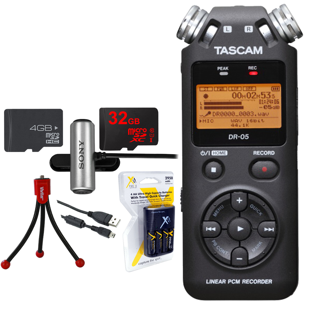 Tascam Portable Digital Recorder (DR-05) w/Bundle + 32GB Micro SD Card + AA Charger (100-240v) w/4 2950mah AA Batteries + Flexible Mini Table-top Tripod + Clip style Omnidirectional Stereo Microphone