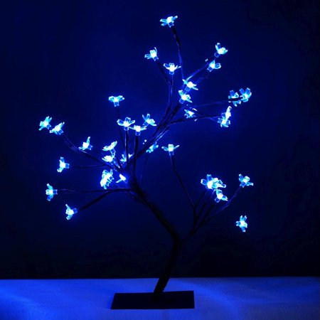 36 LED Blue Pre Lit Battery Operated Tree Decor ()