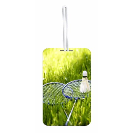 Tennis Racquets in Grass Double Sided Luggage Identifier