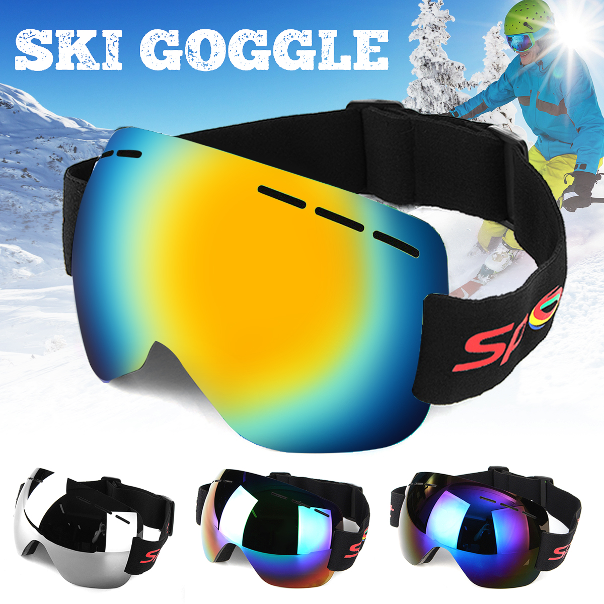 Frameless Ski Snowboard Goggles Anti-fog UV Protect Men Women Glasses Windproof Skiing Snowmobile by