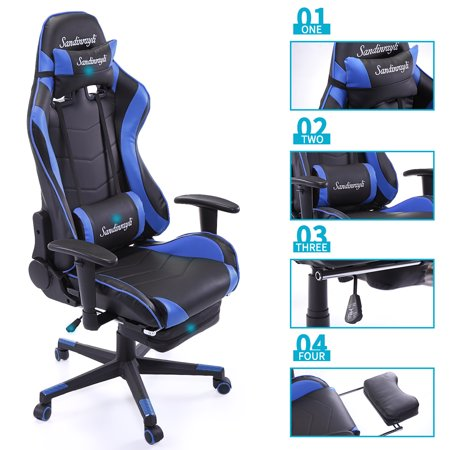 Blue Racing Chair Ergonomic High Back Office Desk Swivel Pc Gaming W Lumbar