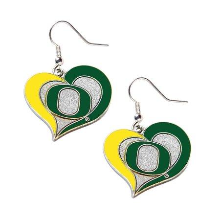 NCAA Oregon Ducks Swirl Heart Dangle Logo Earring Set Charm Gift - image 1 de 1