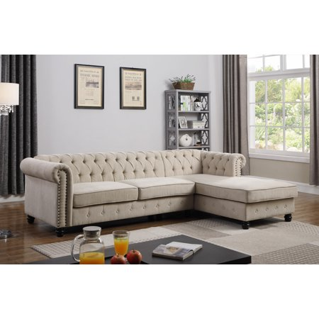 Best Master Furniture Venice Upholstered 2 Piece Living Room Sectional Beige
