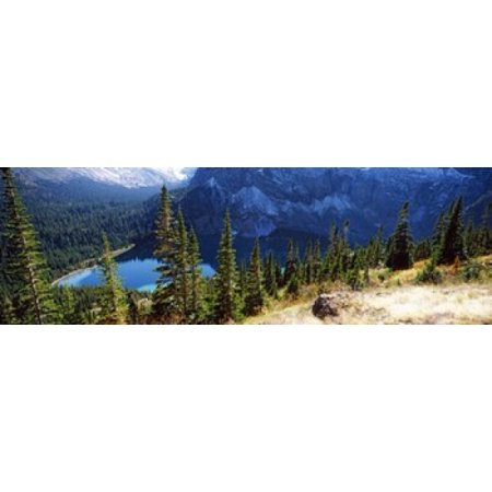 High angle view of a lake Grinnell Lake US Glacier National Park Montana USA Canvas Art - Panoramic Images (18 x