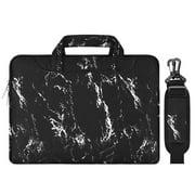 Mosiso Marble Pattern Laptop Bag Sleeve Canvas Notebook Shoulder Bag 13-13.3 Inch for MacBook Pro Air Computer Handbag Briefcase,Black