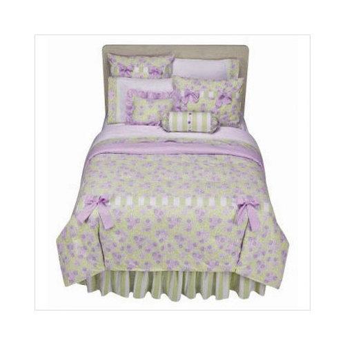 Bundle-75 Bacati Flower Basket Stripes Bed Skirt in Green / White