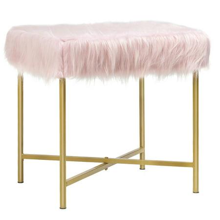 Costway Faux Fur Stool Ottoman Footrest Stool Decorative with Metal Legs GreyPinkWhite
