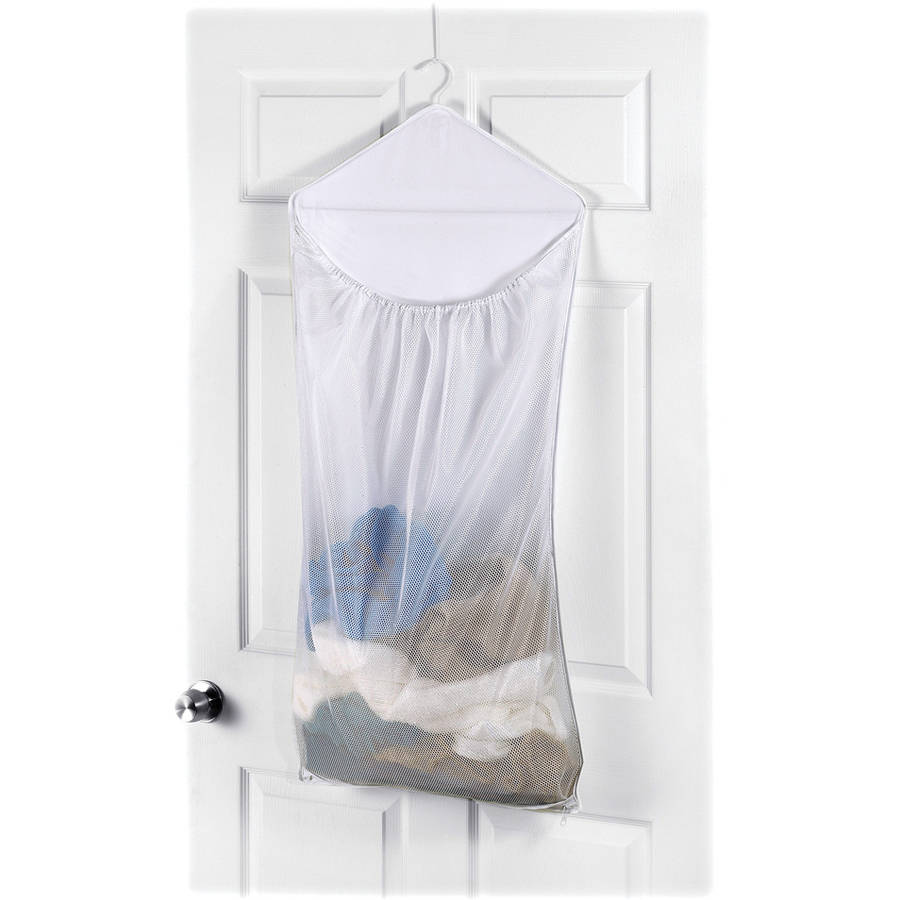 Whitmor Dura-Clean Over the Door Hanging Laundry Hamper White by Whitmor