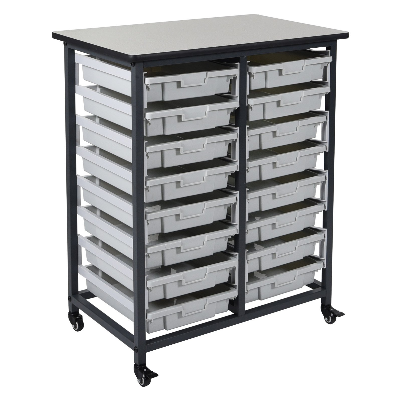Luxor 16 Drawer Double Row Mobile Bin System