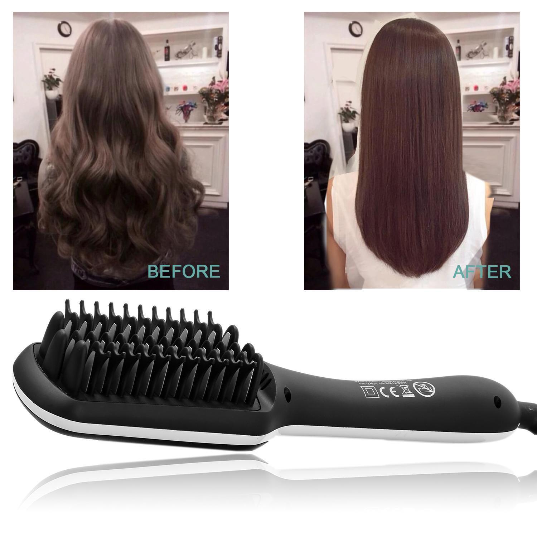 Ionic Hair Straightening Brush Hair Straightener Brush Electric Digital Easy Detangling Hair Brush