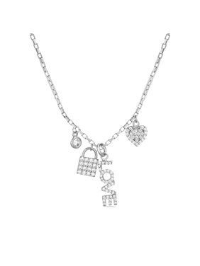 """Womens Cubic Zirconia """"Love"""", Heart and Lock Charm 16"""" Necklace"""