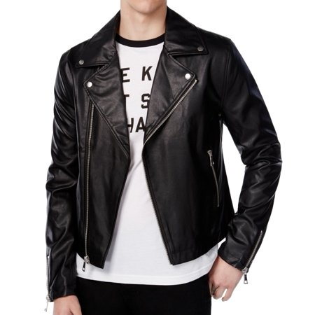 WHT SPACE NEW Black Mens Size 2XL Faux Leather Motorcycle Jacket
