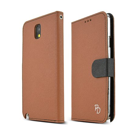 RS Brown/ Black Faux Leather Diary Flip Hard Case w/ ID Slots  Wrist Strap  & Magnetic Closure for Samsung Galaxy Note 3