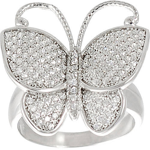 Brinley Co. CZ Butterfly Ring in Sterling Silver