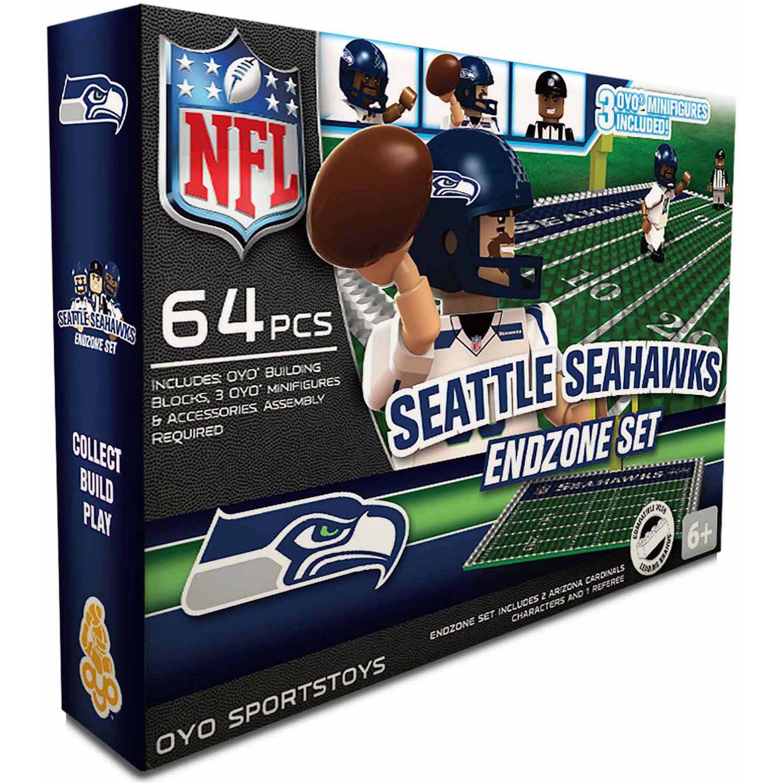 OYO Sports 64-Piece NFL End Zone Building Block Set, Seattle Seahawks