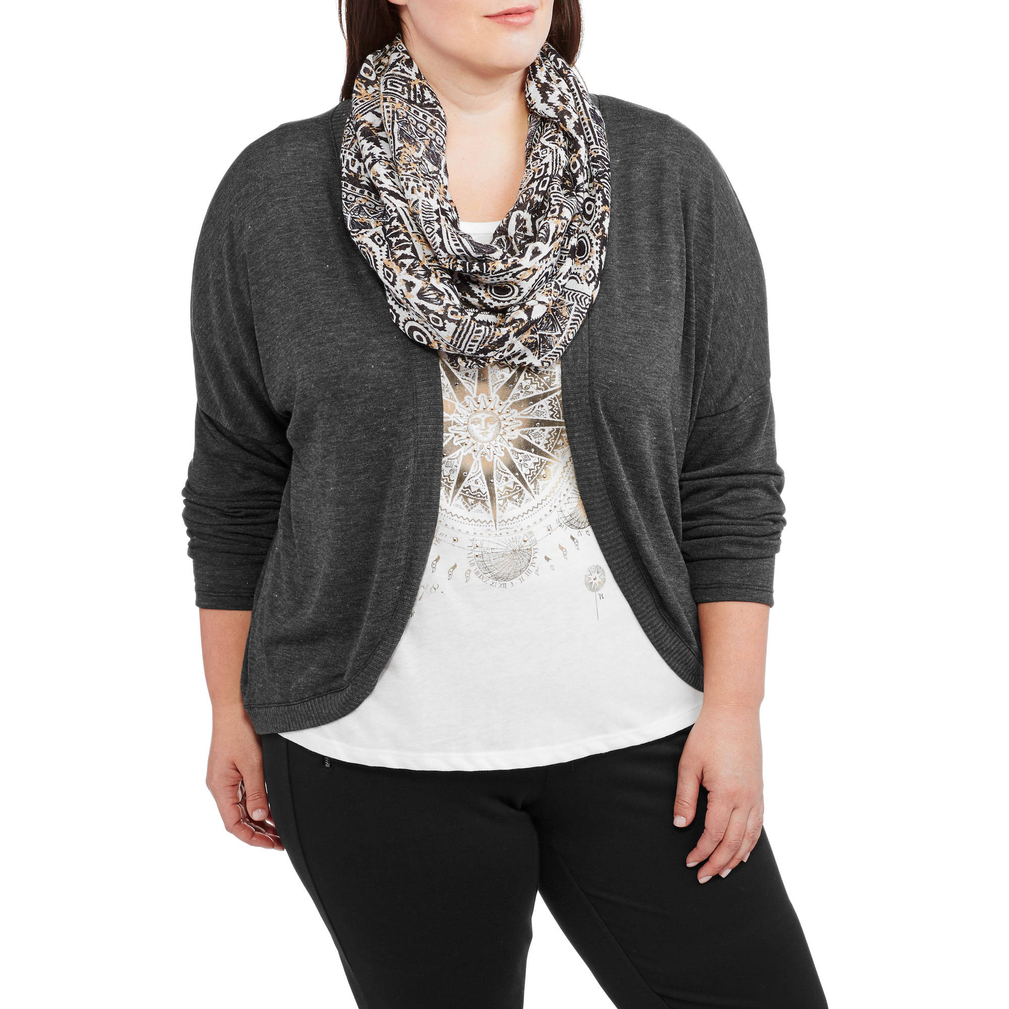 Tru Self Women's Plus-Size Graphic Tee 3Fer (Includes Tee, Cardigan, Scarf)