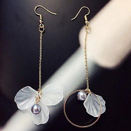 AkoaDa Charm  Korean Version Of The New Style Temperament Earrings Long Style Irregular Flowers Tasseled Chain Dangle Hook ()