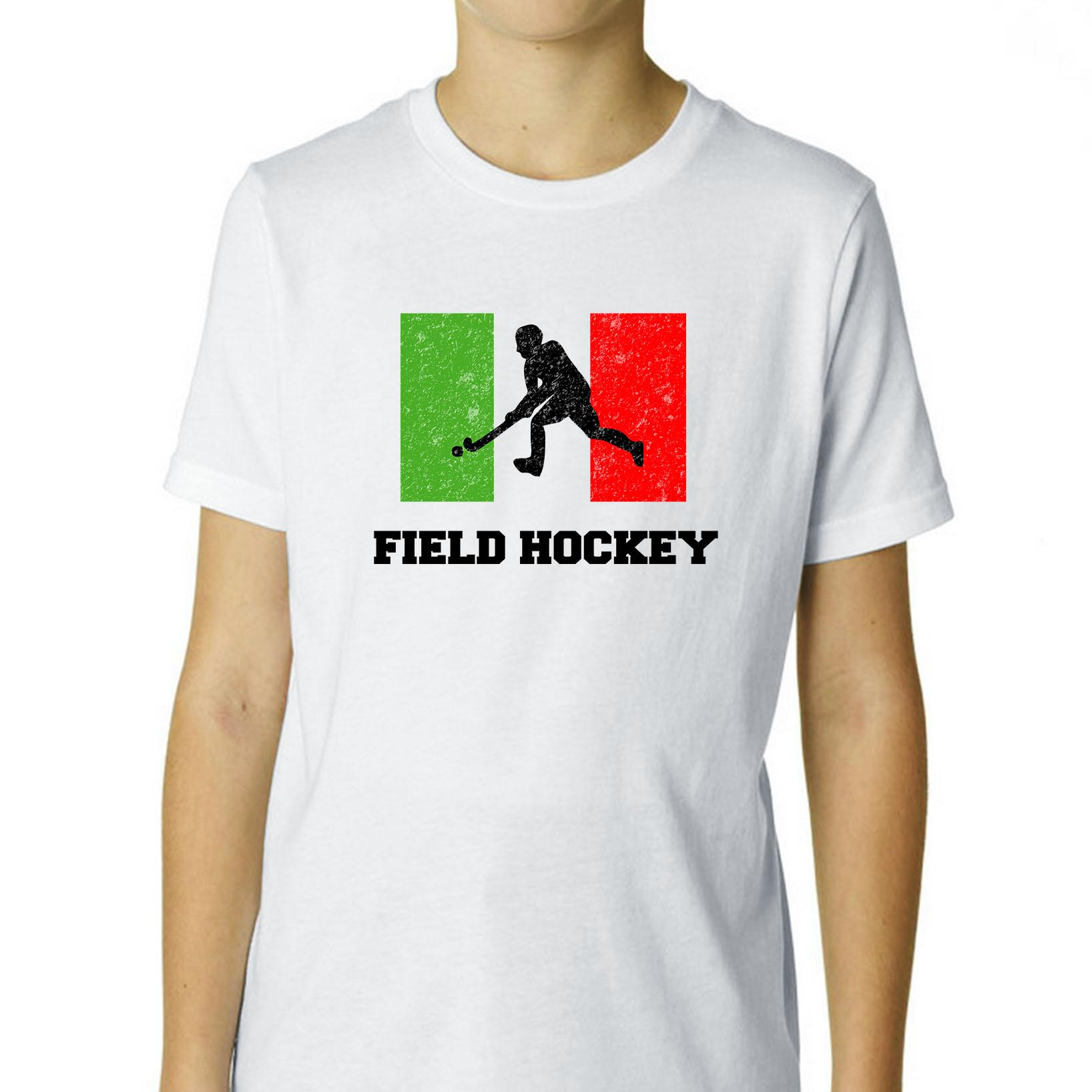 Italy Olympic Field Hockey Flag Silhouette Boy's Cotton Youth T-Shirt by Hollywood Thread