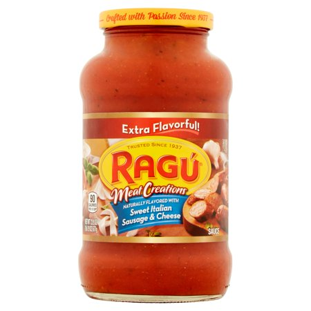 (3 Pack) Ragú Meat Creations Sweet Italian Sausage & Cheese Pasta Sauce 24 oz. (Meat Market 3)