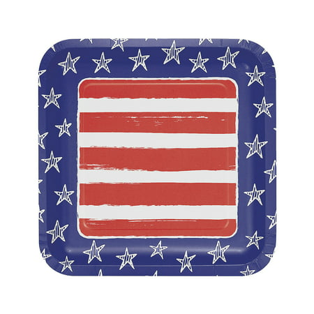 Fun Express - Festive Flag Usa Dinner Plate for Fourth of July - Party Supplies - Licensed Tableware - Licensed Plates & Bowls - Fourth of July - 8 Pieces](Fourth Of July Plates)
