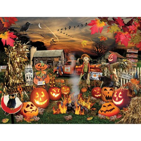 White Mountain Puzzles Jack O Lanterns - 1000 Piece Jigsaw - Jane Wooster Scott Halloween Puzzle
